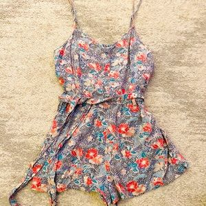 American Eagle Blue and Pink Floral Romper